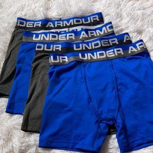 (4) Under Armour Boy's Underwear Boxer Briefs